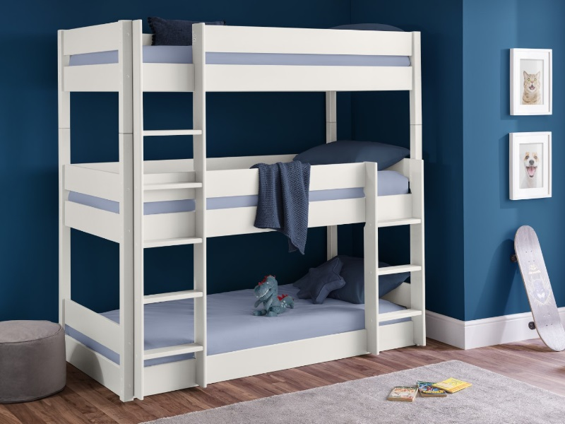 Julian Bowen Trio Bunk 2\' 6 Small Single Surf White Bunk Bed Image0 Image