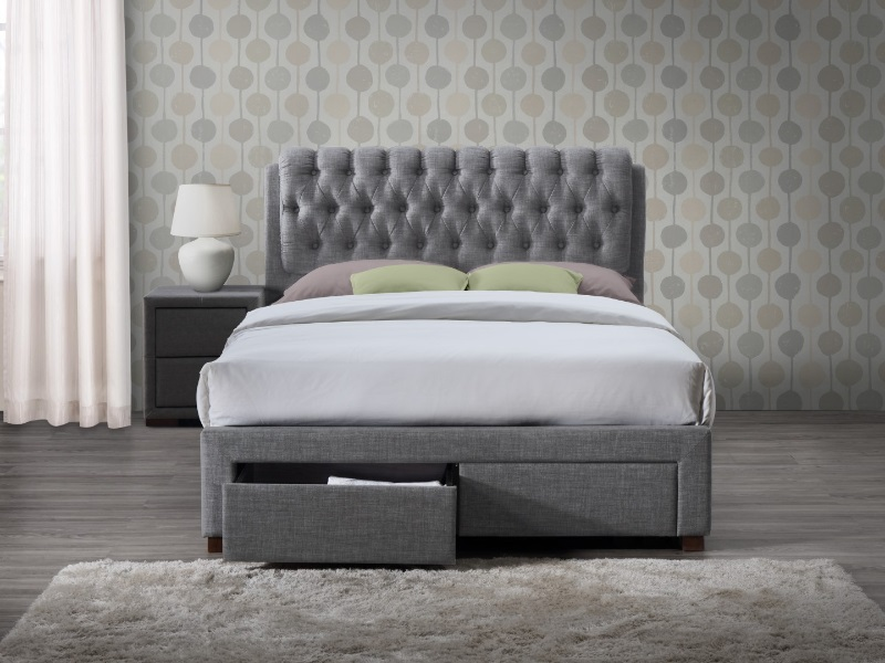 Birlea Valentino 2 Drawer 4\' 6 Double Grey Fabric Fabric Bed Image0 Image