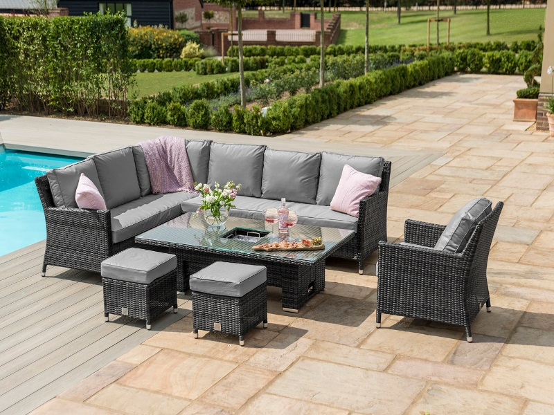 Maze Rattan Venice Corner Sofa Dining Set with Armchair and Ice Bucket and Rising Table Grey Rattan Outdoor and Garden Image0 Image