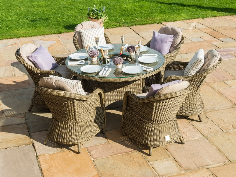 Winchester 6 Seat Round Ice Bucket Dining Set with Heritage Chairs and Lazy Susan Image0 Image