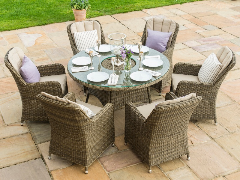 Winchester 6 Seat Round Ice Bucket Dining Set with Venice Chairs and Lazy Susan Image0 Image