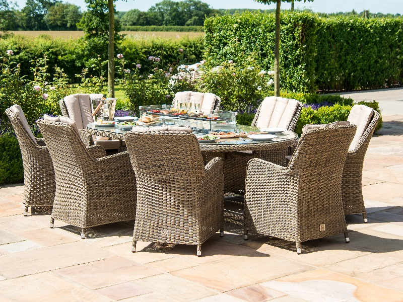 Winchester 8 Seat Oval Fire Pit Dining Set with Venice Chairs Image0 Image